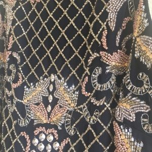 Adrianna Papell Dresses - Black Prom Dress With Gold Beading